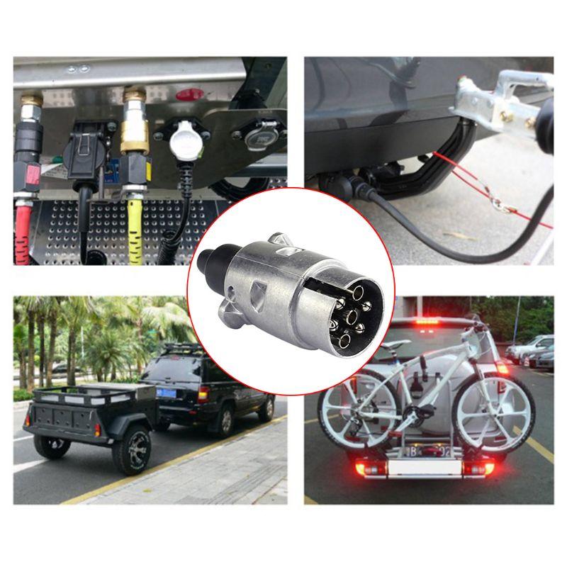 7 Pin Socket Enganche traiiler Coche Camión Horsebox Remolque cableado luces Metal 24v