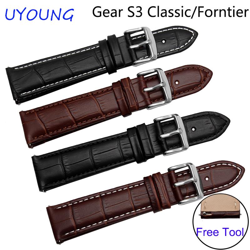 Prix pour Pour samsung gear s3 classique/forntier qualité en cuir véritable bracelets montres 22mm remplacement smart bracelet