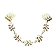 KINS Indian Elegant Gold Color Tone Olive Leaf Decoration Hair Combs Cuff Pin Headband Accessories Tassel