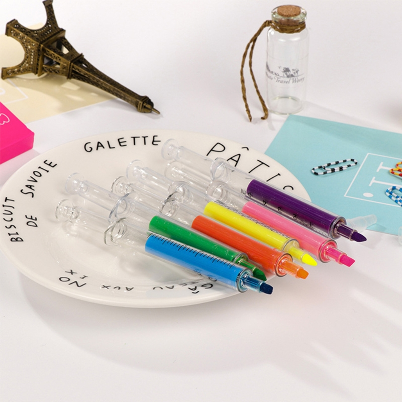 OOTDTY Cute New 6pcs Syringe Highlighter Pen Marker Needle Tube Writer Pens Stationery Novelty