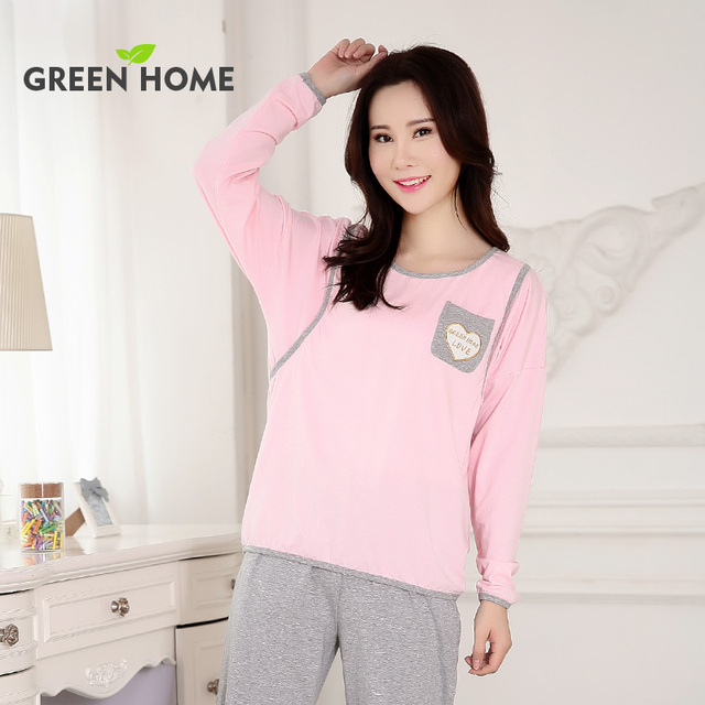 New Hide Opening Maternity Tops and Bottom Pink Spring Soft Sleepwear Green Home Casual O-neck Plus size Maternity Sets