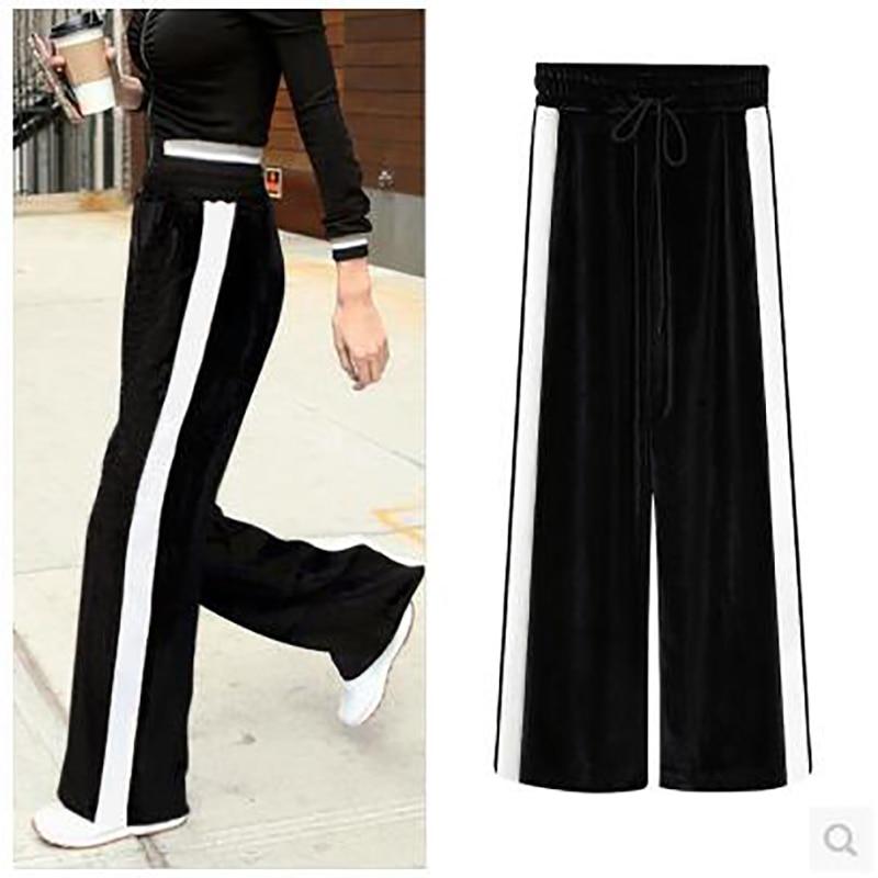 Black   Wide     Legged     Pants   White Stripe Color Block Loose High Waist Pleuche Elastic Waist Lace Up Plus Size 6XL Ladies   Pants