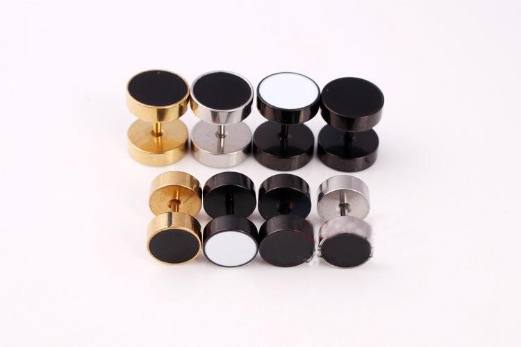 Barbell Stud Earrings Ear Ring Fake Ear Plug Ball 8mm Black White Medical Titanium Round Mens Punk Jewelry Rock Gothic Piercing
