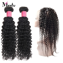 Meetu Brazilian Kinky Curly Hair 360 Lace Frontal with Bundles 2 Bundles with Frontal Human Hair Bundles with Closure Non Remy