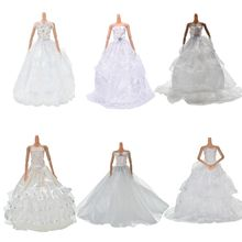 White Elegant Handmade Wedding princess Dress For Doll Floral Doll Dress Clothes Clothing Multi Layers Dolls Accessories(China)