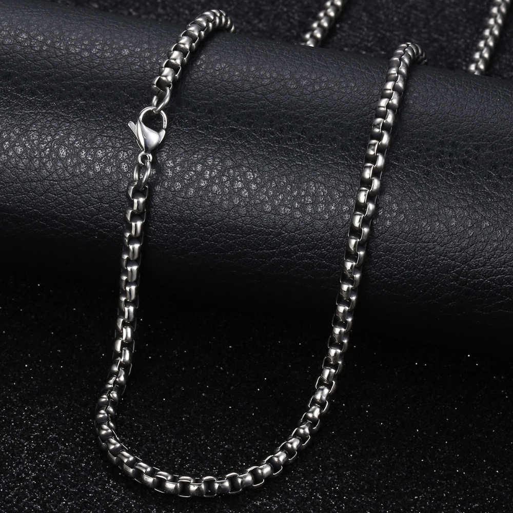 Stainless Steel Necklace For Men Women Gunmetal Box Chain Mens Necklace Chains Dropshipping Jewelry Male Gift 18-28inch LKN223