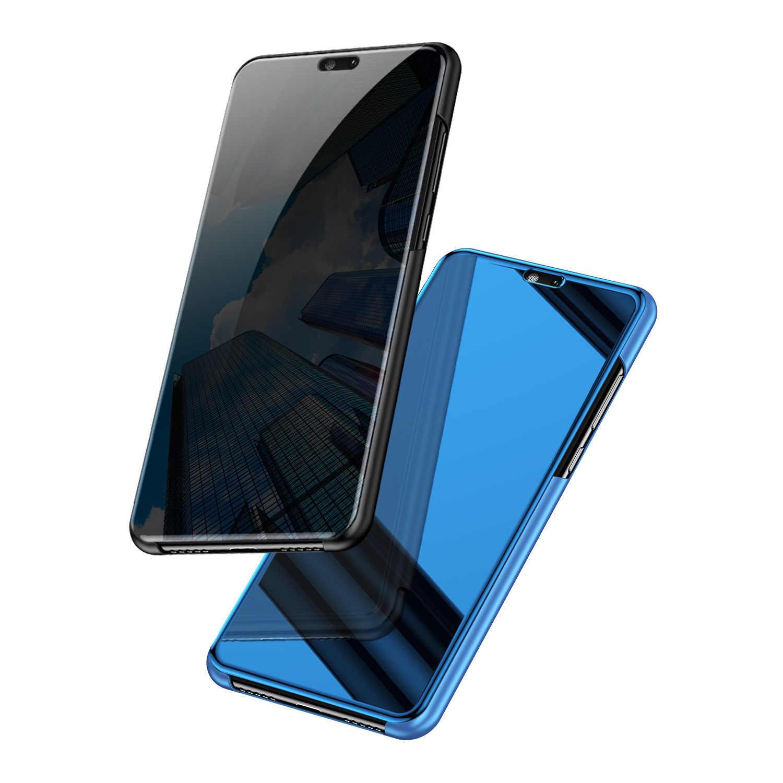 Mzxtby الفاخرة معدنية جلدية الغلاف الصلب PC الوجه مرآة لها حامل الحالات الهاتف قذائف لسامسونج S10 نوت 8 9 A3 A5 A7 A8 J3 J7