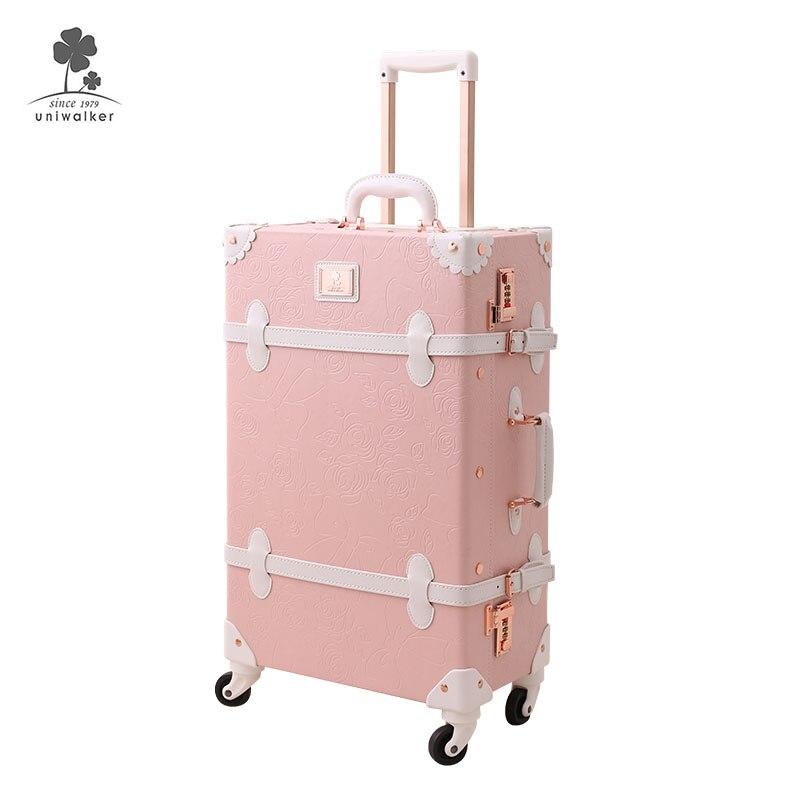 TOP vente Pu cuir filles valise vintage ensembles voyage mignon rose cabine taille main bagage à main avec 360 degrés Spinner roue