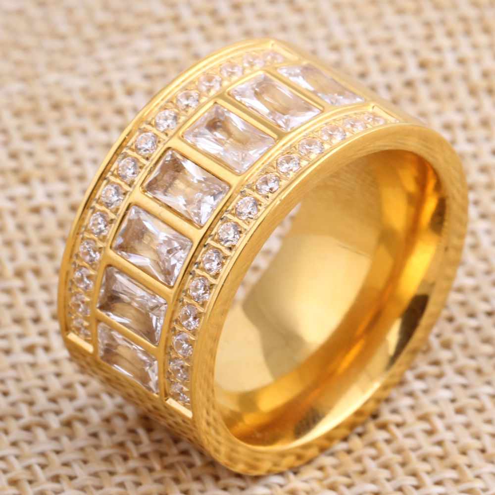 12mm wide new gold color ring stainless steel bagues femme beautiful rhinestone cheap party engagement ring - Beautiful Wedding Rings