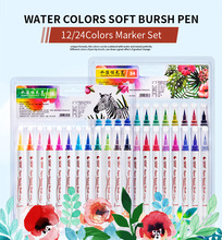 лучшая цена STA Watercolor Calligraphy Brush Marker Pen 12/24Colors Soft Brush Tips Painting Pen for Adult Coloring Books Comic Art Suppies