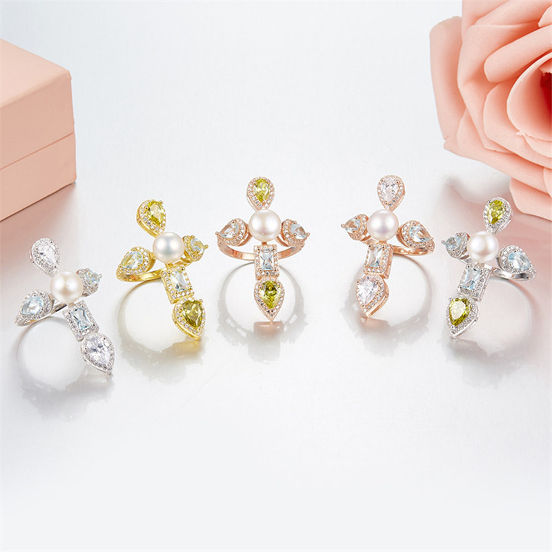 Monaco Cross Ring for Women Sliver Rose Gold Color 925 Sterling Sliver Finger Rings 2018 Fine Jewelry