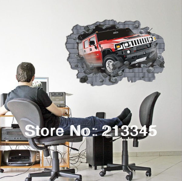 [Fundecor Monopoly] large 3D Hummer off-road Cars Hoom Decorative Wall Stickers 70x100cm boy like 6265