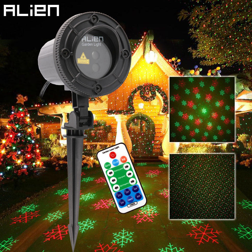 цена ALIEN Remote RG Laser Snowflake Projector Outdoor Star Dots Laser Light Christmas Tree Garden Waterproof Xmas Shower Lighting
