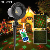 ALIEN Remote RG Laser Snowflake Projector Outdoor Star Dots Laser Light Christmas Tree Garden Waterproof Xmas Shower Lighting