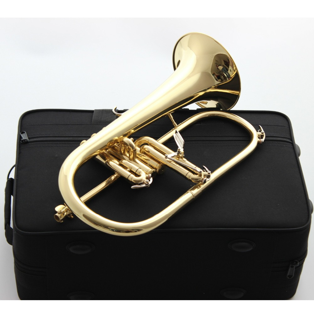 Brand New Professional Bach Flugelhorn BH-950 Gold Lacquer With Case Profession Flugelhorns Bb Yellow Brass Bell