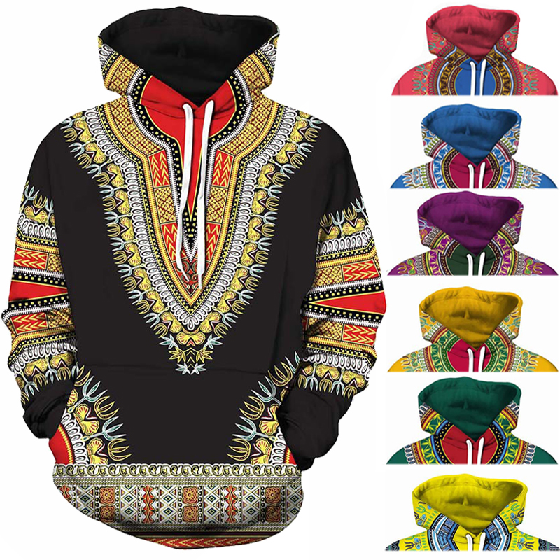 Spandex Bazin Riche Traditional Print Pullover African Dashiki Hoodie 3D Africa Clothe Red Yellow Purple Black Orange Blue Green