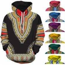 Спандекс Базен Riche традиционной печати пуловер Африканский Dashiki Толстовка 3D узор Красный Желтый фиолетовый, черный оранжевый синий зеленый