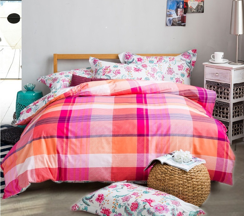 Captivating Check Pattern Cotton Bed Sheets, Pink Winter Hardy Thermal Sanding Bedding  Set, Gift A Pair Of Slippers In Bedding Sets From Home U0026 Garden On  Aliexpress.com ...