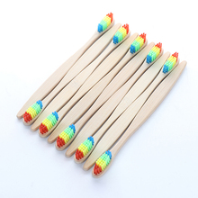 10pcs Natural Rainbow Bamboo Toothbrush Set Soft Bristle Dental Travel Tooth Brush Colorful Charcoal Teeth Whitening Oral Care