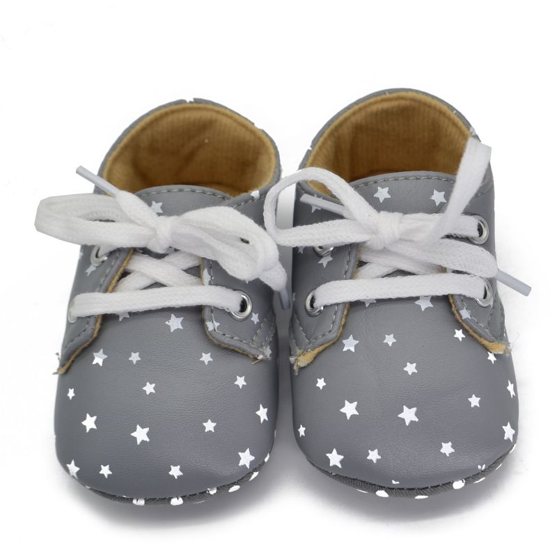 Beauty 0-18M Cute Toddler Infant Boy Crib Shoes Lace-Up Sneaker PU Soft Soled Shoes
