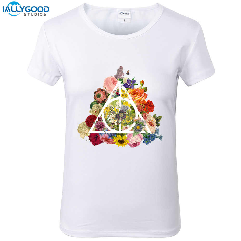 c4dbe770 Detail Feedback Questions about Fashion Floral Deathly Hallows T Shirt Women  Flowers Printed T Shirts O neck Soft Short Sleeve Casual White Tops S1705  on ...