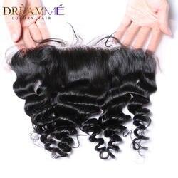 Dreamme queen hair предварительно сорвал свободные волна Кружева Фронтальная застежка 13x4 перуанский Remy натуральные волосы фронтальной с ребенком