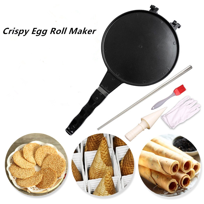 Crispy Egg Roll Maker Ice Cream Cone Mould Waffle Baking Tool Cone Pizza Machine Home mold brittle machine egg tube Maker factory price ice cream waffle cone maker round egg roll waffle maker waffle making machine