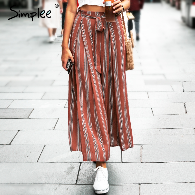 Simplee alta split stripe Pantalón ancho Pantalones mujer verano playa alta cintura pantalones Chic streetwear sash casual pantalones capris Mujer