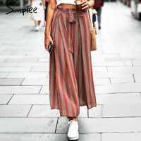 Simplee Split striped lady pantalones de pierna ancha mujer verano playa pantalones de cintura alta Chic streetwear sash casual pantalones capris Mujer