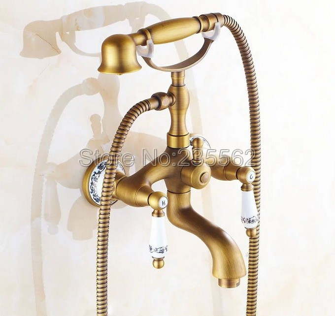 Bathroom Antique Brass Porcelain Base Wall Mount Shower Taps Dual Handle Bathtub Mixer Faucet with Handheld Shower Spray ltf311 antique 8 brass rainfall shower faucet set with handheld shower wall mount single handle mixer taps