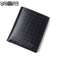 Brand fashion plaid slim wallet men genuine leather short wallet cowhide small wallet for men casual wallet vertical style