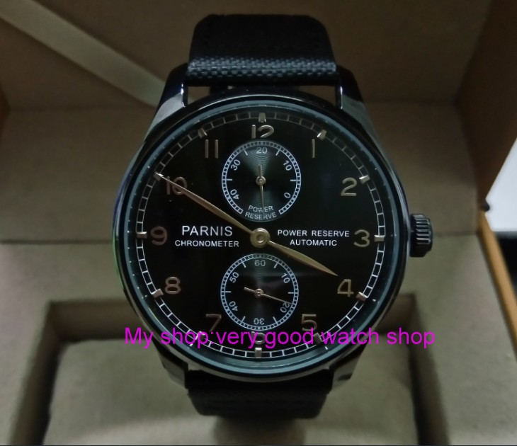 43mm PARNIS pilot power reserve Automatic Self-Wind Mechanical movement mens watch PVD case black Nylon  strap zdgd109a43mm PARNIS pilot power reserve Automatic Self-Wind Mechanical movement mens watch PVD case black Nylon  strap zdgd109a