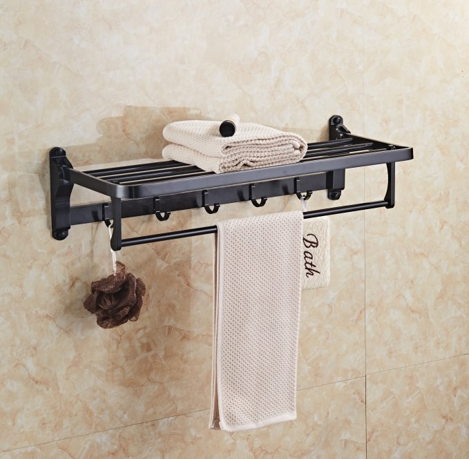 AUSWIND Space Aluminum Bath Towel Rack Active Bathroom Towel Holder Double Towel Shelf With Hooks Bathroom Accessories Sj32 free shipping two layer bathroom rack space aluminum towel washing shower basket bar shelf