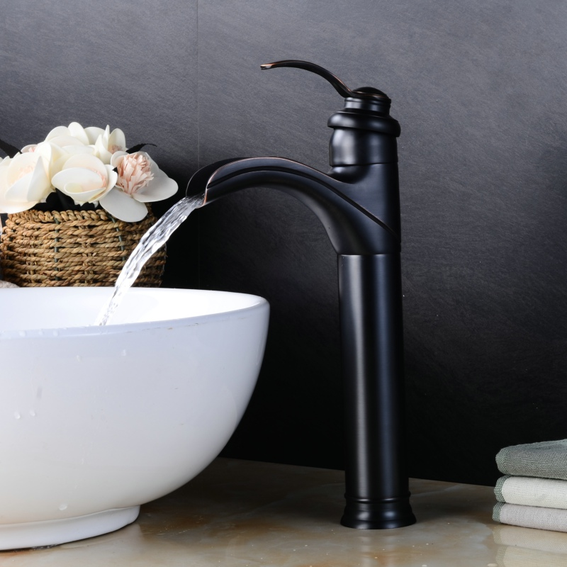 BECOLA waterfall bathroom faucet oil rubbed black basin faucets luxury antique brass tap BR-427A allen roth brinkley handsome oil rubbed bronze metal toothbrush holder