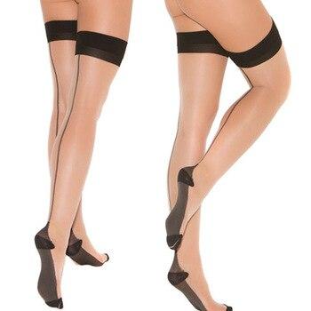 d8ba0cd874 Thin ultrathin sexy Encaje mujeres color Medias verano Medias Encaje nylon  Top muslo alta ultra Sheer rodilla alta Medias Lencería