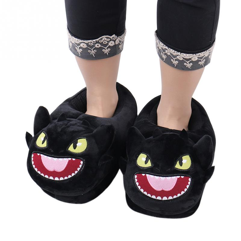 Women Shoes Plush Home Slippers For Home Use How To Train Your Dragon Toothless Night Fury Plush Slippers Soft Stuffed Shoes стоимость