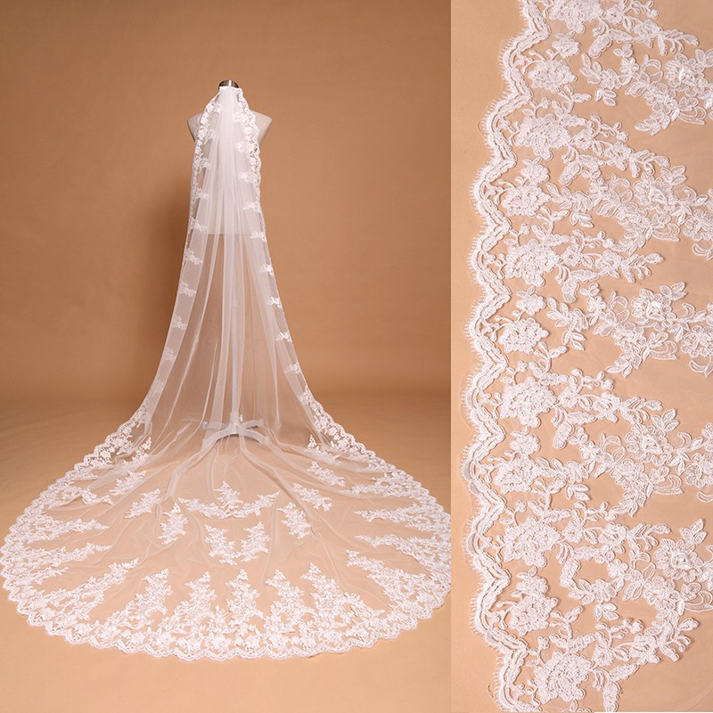 1T Long Cathedral Wedding Bridal Veil With Comb Lace Edge Applique White Ivory