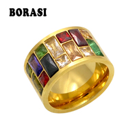 Crystal Ring For Women Anel 316L Stainless Steel Female Rainbow Color Stone Ring Anillo Fashion Jewelry Cz Diamond Wedding Rings