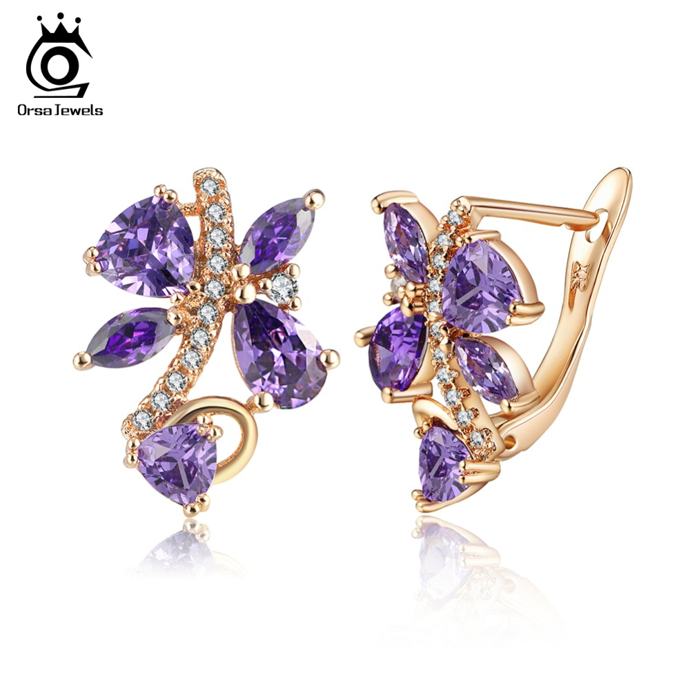 все цены на ORSA JEWELS Luxury Stud Earrings For Female Five Color AAA Cubic Zircon Optional Party Earring Fashion Women Jewelry OME56 онлайн