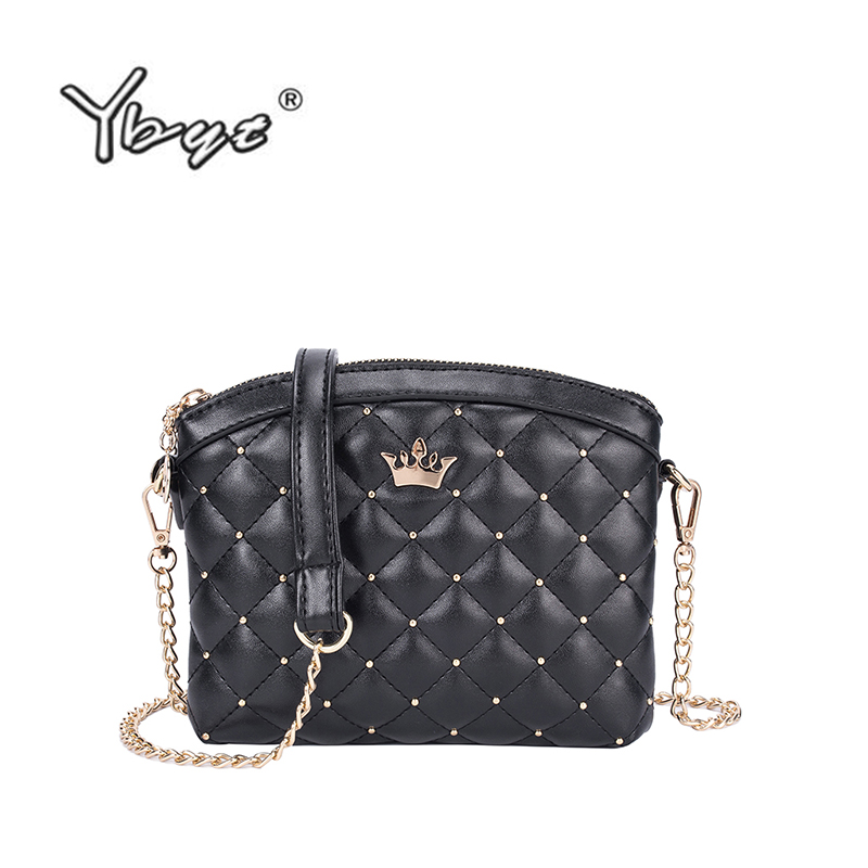 f5ed038e495e YBYT brand 2018 new double zipper shoulder messenger crossbody bags diamond  lattice women satchel imperial crown ladies pack