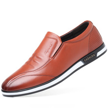Dropshipping Large Size Men Leather Casual Shoes British Style Loafers Fashion Brand Soft Moccasins Flats Driving DB017