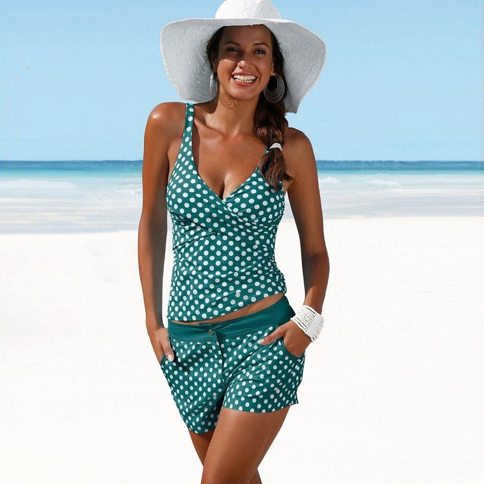2018 Plus Size Swimwear Women Tankini Swimsuits High Waisted Bathing Suits Polka Dot ...