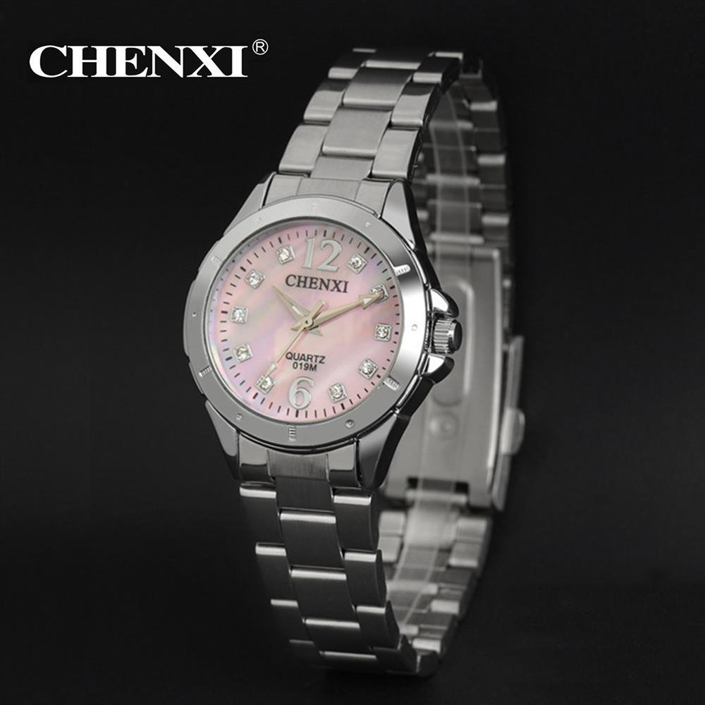 2018 Diamond-studded Silver Bezel White Or Pink Dial Alloy Strap Women's Fashion Quartz Watch