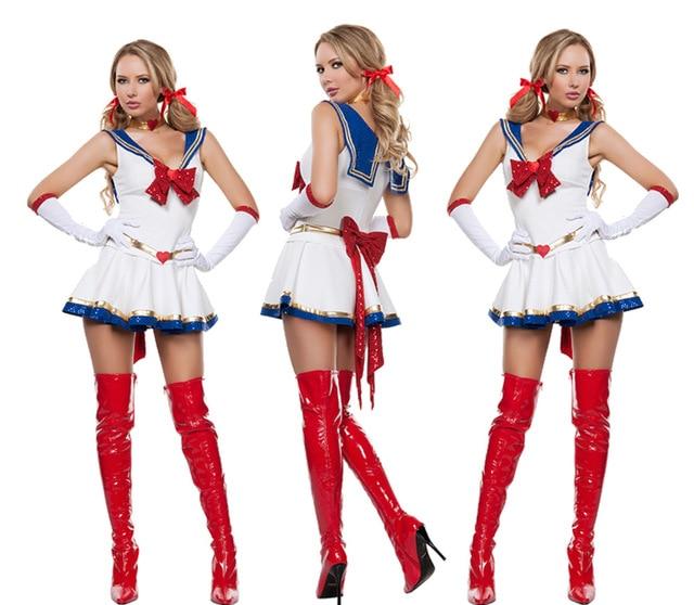 08b0585eff1 Drop shipping Ladies Sexy White Sailor Moon Costume Cartoon Anime Cosplay  Girl Mercury Moon Mars Dress for Halloween Costume on Aliexpress.com | ...