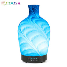 COOSA Essential Oil Diffuser Glass Water Wave Pattern 7 LED Lights Aroma Cool Mist Humidifier for Office Bedroom Gift