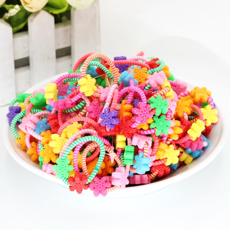 50pcs Snow Flower Hair Rubber Band  Cute isnice Elastic Hair Rope Children Head Princess Ponytail Holder Hair Accessories