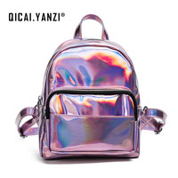 2017 Women Fashion Shiny Personality Laser Backpacks College Leather PU Solid Color Elegant