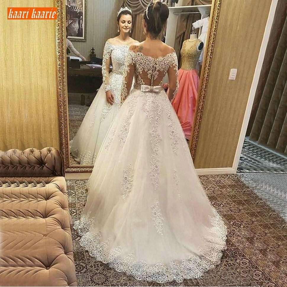 Sumptuous Off Shoulder White Wedding Dresses Long Sleeves 2019 Appliques Lace A Line Wedding Dress Illusion Garden Bridal Gowns