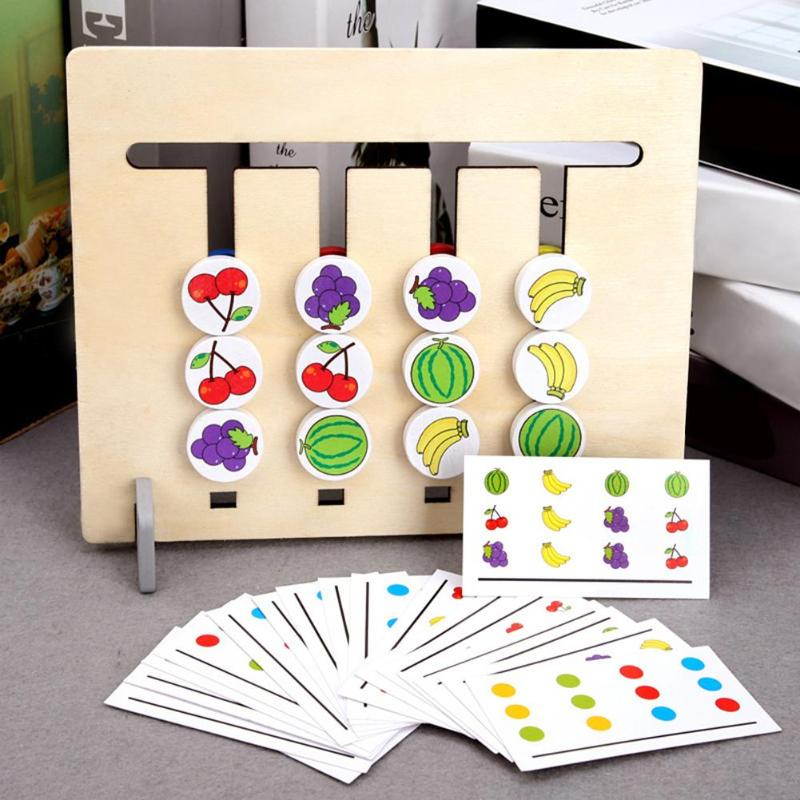 Montessori Wooden Four Color Fruits Logic Puzzles Game Children Kids Early Educational Toys Set Developing Wooden Toys Gifts