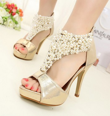 Cut Out Sapatos Feminios Sandalias With Pearls Bohemian Beading High Heel Wedges Sandals Blackgold Wedding Shoes Y092 In Womens Sandals From Shoes On